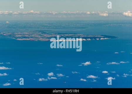 Aerial view, island Moen seen from 3000 meters above Hiddensee, Denmark, Dranske, Baltic Sea island, Gulf of Mecklenburg, - Stock Photo