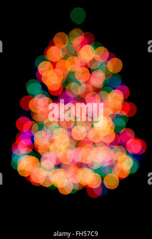 Out of Focus Christmas Lights Background - Stock Photo