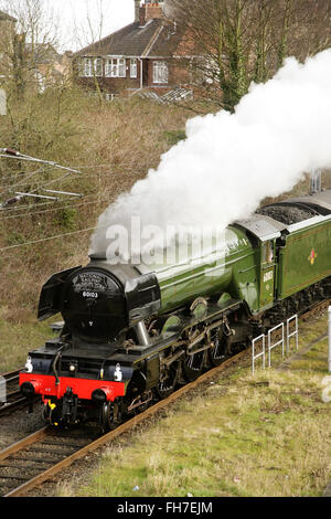 "York, UK, 24 February 2016. Newly restored LNER A3 class locomotive ""Flying Scotsman"" leaves York on its way to - Stock Photo"