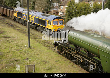"""York, UK, 24 February 2016. Newly restored LNER A3 class locomotive """"Flying Scotsman"""" leaves York on its way to - Stock Photo"""