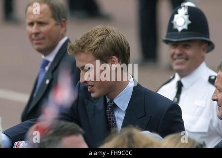 Prince William greets well-wishers on a walkabout in the Mall before a special pageant marking Queen Elizabeth II's - Stock Photo