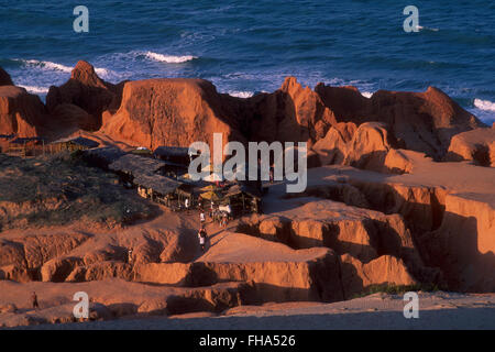 Morro Branco beach - labyrinths formed by erosion on multi-colored cliffs, Beberibe minicipality, Ceara State, Northeastern - Stock Photo