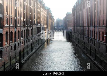 channel and bridges Kehrwieder-Brooksfleet, Hamburg, Germany - Stock Photo