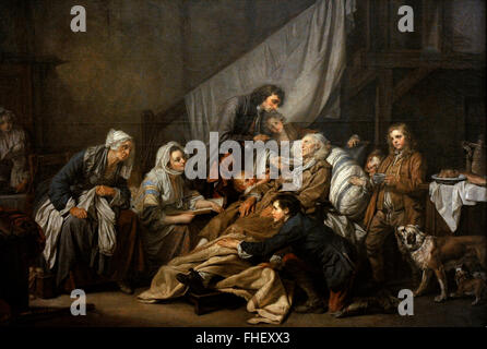 Jean-Baptiste Greuze (1725-1805). French painter. Filial Piety (The Paralytic), 1763. The State Hermitage Museum. - Stock Photo