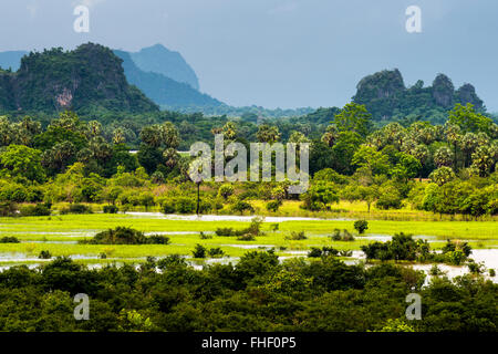Stormy atmosphere at karst hills, view of the landscape, near Hpa-an, Karen or Kayin State, Myanmar, Burma - Stock Photo