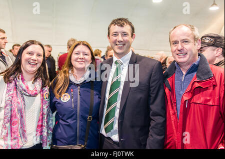 Ballincollig, Ireland. 27th February, 2016. Pictured at the 2016 General Election count in Coláiste Choilm, Ballincollig - Stock Photo