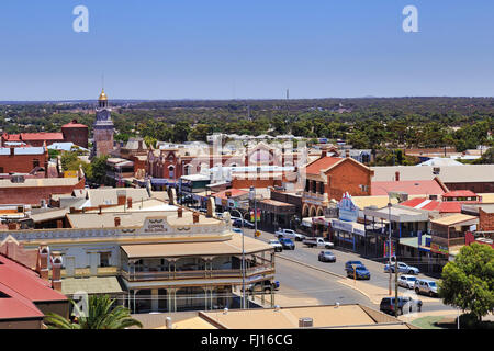 KALGOORLIE, AUSTRALIA -JAN 14: Areial view of the main avenue of the city of Kalgoorlie in Western Australia, 14/01/2016 - Stock Photo