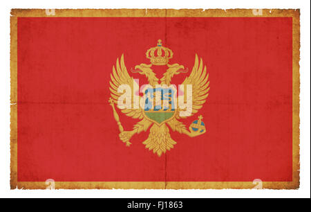 National Flag of Montenegro created in grunge style - Stock Photo