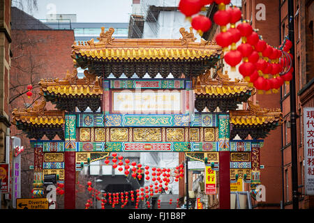 Chinese arch Manchester China Town   Decorated streets Historic history important significant landmark Faulkner - Stock Photo