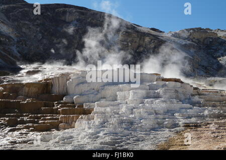Mammoth Hot Springs, Yellowstone National Park, USA - Stock Photo