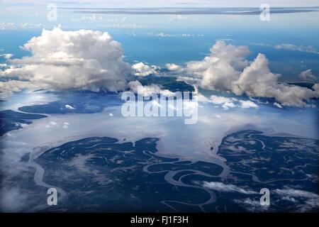 Aerial view of Amazon river, Brazil - Stock Photo