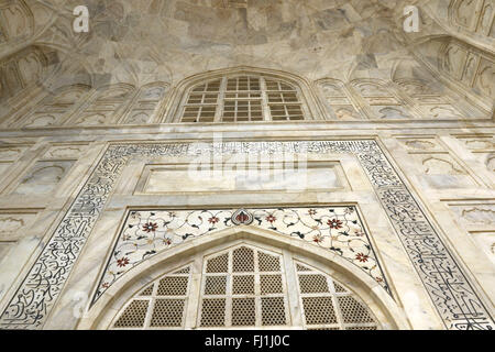 Taj Mahal marble Art Flowers Plants carving on Taj Mahal Marble Tiles taj mahal flower detail, India on 15 February - Stock Photo