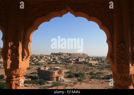 Amazing panoramic view on Jaisalmer city, with fort fortress in the center, Rajasthan, India - Stock Photo