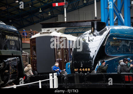 The A4 Pacific Steam Locomotive Mallard on Display in The National Railway Museum York Yorkshire England United - Stock Photo