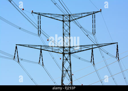 High voltage electricity pylon closeup - Stock Photo