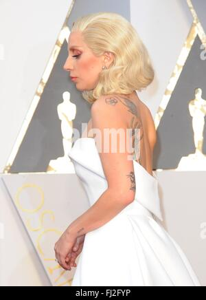 Los Angeles, CA, USA. 28th Feb, 2016. Lady Gaga at arrivals for The 88th Academy Awards Oscars 2016 - Arrivals 2, - Stock Photo