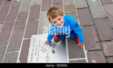 little boy on a commemorative plate , Netherlands - Stock Photo