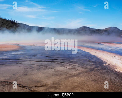 Grand Prismatic Spring, Midway Geyser Basin, USA, Wyoming, Yellowstone National Park - Stock Photo