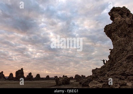 Rock Formations at dawn Lake Abbe, Djibouti, Africa - Stock Photo