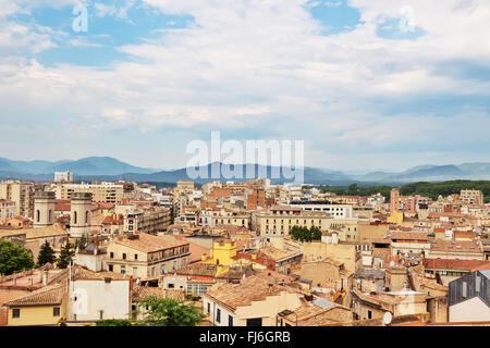 View over the picturesque city of Girona. Catalonia, Spain. - Stock Photo