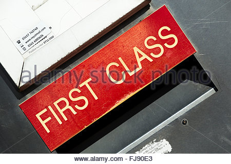 Close-up of a Royal Mail Letterbox - Stock Photo
