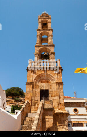Bell tower of the Church of Panagia in Lindos on the island of Rhodes. - Stock Photo