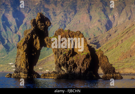 The stone arch Roque de la Bonanza, El Hierro, Canary Island, Spain, Europe - Stock Photo