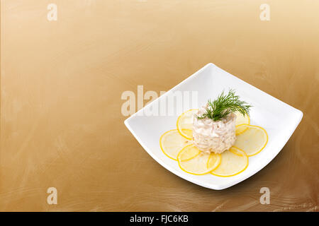 Seafood salad on a brown background - Stock Photo