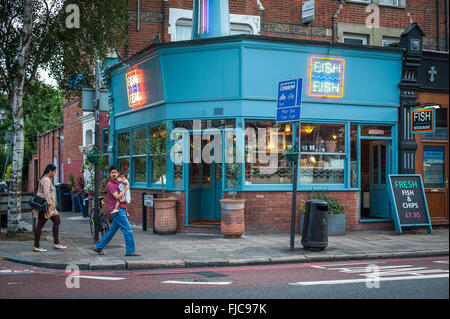 Upmarket Fish & Chips restaurant, Highgate, north London - Stock Photo