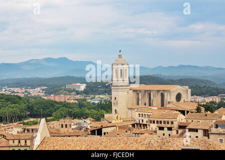 View over the old center of Girona, with mountains in the background. Catalonia, Spain. - Stock Photo