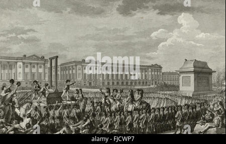 'Day of 21 January 1793 the death of Louis Capet on the Place de la Révolution' - Execution of French King Louis - Stock Photo