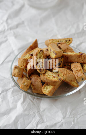 biscotti with cranberries on plate, food closeup - Stock Photo