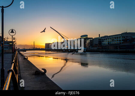 Samuel Beckett Bridge over River Liffey, Docklands area at dawn, Dublin, Ireland - Stock Photo
