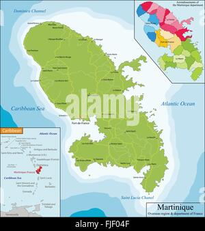 Map of Martinique - Stock Photo