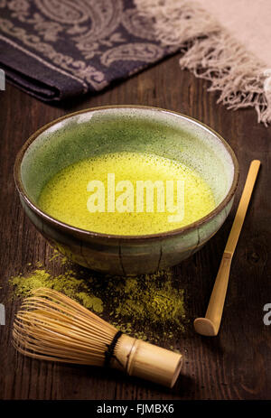Matcha fine powdered green tea - Stock Photo