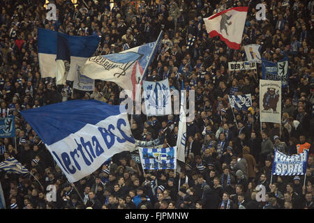 Berlin, Germany. 02nd Mar, 2016. Berlin supporters cheer for their team prior to the German Bundesliga soccer match - Stock Photo
