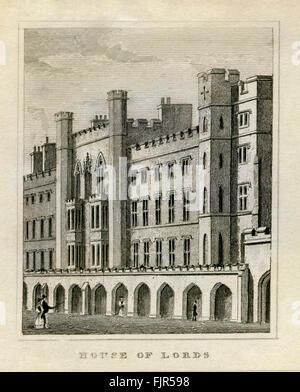 House of Lords, Palace of Westminster, London 1835. Upper house of UK parliament. - Stock Photo