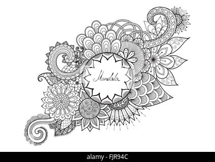 Line art design of fairy girl walking in floral jungle for adult coloring book  page and design element. Vector - Stock Photo