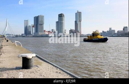 Iconic Rotterdam skyline. Erasmus bridge, Maastoren, De Rotterdam (Koolhaas, 2013), World Port center & Montevideo - Stock Photo