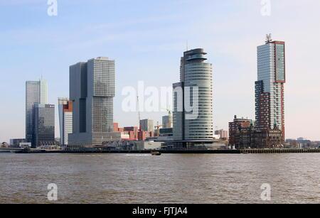 Iconic Rotterdam skyline. Maastoren (Deloitte HQ), De Rotterdam, World Port center & Montevideo skyscrapers + Hotel - Stock Photo