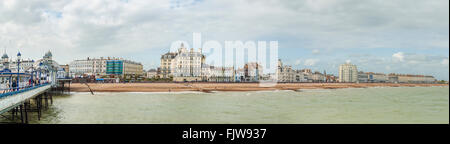 Panorama of Eastbourne Waterfront and coastline East Sussex, South England | Eastbourne Strand Panorama, Suedengland - Stock Photo