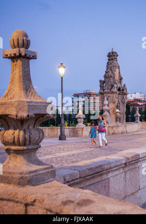 Toledo bridge, Manzanares river, Madrid Rio Park. Madrid, Spain. - Stock Photo