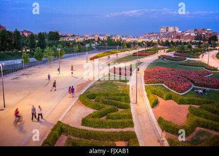 Madrid Rio Park, in  Manzanares river. Madrid, Spain. - Stock Photo