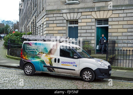 A BT Openreach engineer returning to his van in the New Town, Edinburgh, Scotland, UK. - Stock Photo