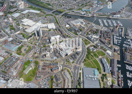 An aerial view of the Marina and Docks in Swansea, South Wales - Stock Photo