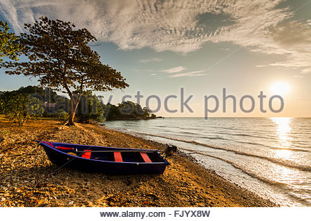 Fishing boat on the shore of a tropical island. Koh Chang. Thailand. - Stock Photo