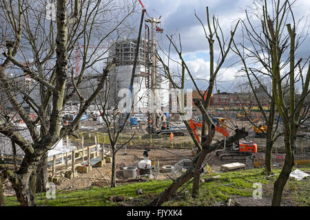 'Elephant Park'  housing under construction on the old Heygate Estate redevelopment site Walworth Road in South - Stock Photo