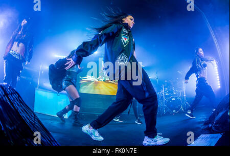 Detroit, Michigan, USA. 3rd Mar, 2016. TINASHE performing on her Joyride World Tour at Saint Andrews Hall in Detroit, - Stock Photo
