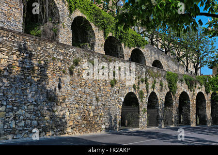 Arches in the Upper Town of Bergamo - Stock Photo