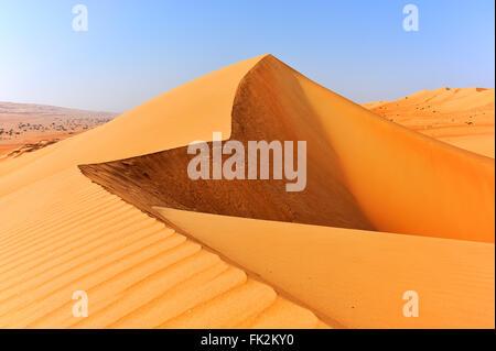 Dunes in Sharqiya Sands, desert of Oman - Stock Photo